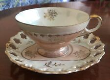 Sterling China Pink, White & Gold Lusterware Cup And Reticulated Rimmed Saucer