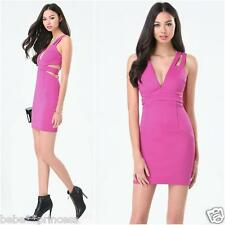 NWT bebe pink violet side cutout deep v neck straps bodycon top dress M medium