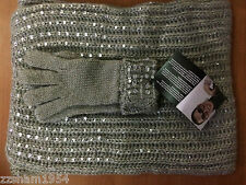 Joan Boyce 2 Piece Embellished Scarf & Gloves Set Light Gray MSRP. $ 49.95