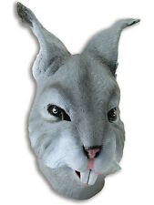 Grey Rabbit Head Mask Rubber Latex Fancy Dress Easter Bunny Wonderland Alice