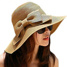 New Fashion Women Summer Bow Floppy Straw Hat Sun Beach Wide Brim Boheimia Cap