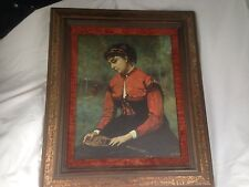 "JEAN-BAPTISTE CAMILLE COROT ""Young Woman in Red"" Oil Painting Framed Repro"