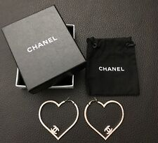 New Only1 NIB CHANEL Large CC Pink Swarovski Crystals Silver Heart Logo Earrings