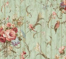York HA1326 Vintage Victorian Floral Bird Rose Blue Green Wallpaper DOUBLE roll