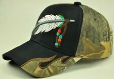 NEW! NATIVE PRIDE INDIAN BIG FEATHER SIDE FLAME CAP HAT BLACK
