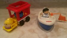 FISHER PRICE BOAT AND TRAIN CAR WITH PEOPLE TOY USED GOOD CONDITION 5½X4 INCHES