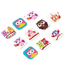 100x Hot Sale Mixed Color Cartoon Owl Patterns Square Wooden Buttons 2 Holes LC