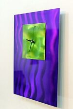 Metal Abstract Modern Wall Clock Art Home Decor - Purple Zinger by Jon Allen