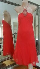 Seduce Silk Halter Dress.Sz12.Stretchy and lined.Beaded centre.Fresh drycleaned.
