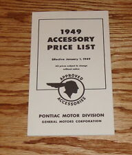 1949 Pontiac Approved Accessories Foldout Sales Brochure 49 Price List