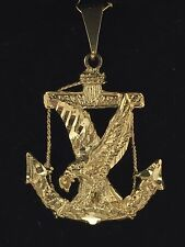 14k Solid Yellow Gold Anchor Eagle Mariners Charm Pendant 5.7 grams Jewelry