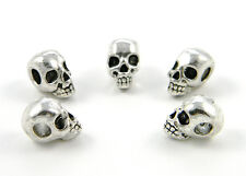 20 Metal Skull Beads (Horizontal Holes) For Paracord Bracelets & Lanyards