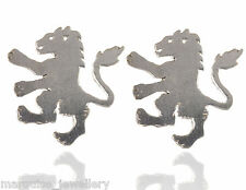 925 Sterling Silver Satin Lion Cufflinks. Marquise Jewellery.