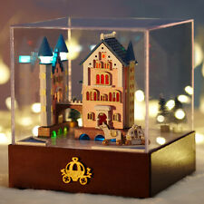 DIY Dollhouse Miniature Kit Music Box Castle Rotate Carriage Christmas gift