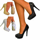 Ladies Sparkly High Heels Diamante Evening Shoes Womens Court Shoes Pumps S30261