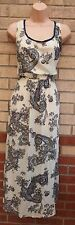 LIGHT LIME CREAM BLUE GREY PAISLEY PRINT  BOHEMIAN LONG MAXI FLIPPY DRESS 16 XL