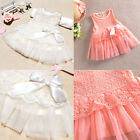 Hot Baby Girls Kids Party Lace Flower Bowknot One Piece Formal Dress Skirts 0-3Y