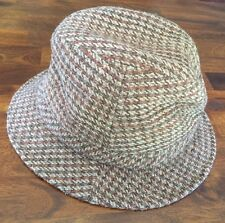 Vintage London Fog Rain Hat Walking Cap Tweed Weatherized Brown Plaid