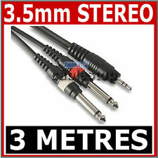 "HIGH QUALITY 3.5mm Mini STEREO Jack to 2x 6.35mm 1/4"" MONO Male Plugs Cable 3m"