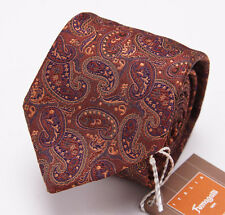 NWT $135 FUMAGALLI 1891 MILANO Slim Silk Tie Rust Brown-Orange-Purple Paisley