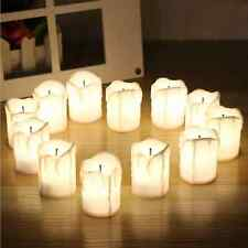 12 Wax Dripping Decorative Flickering LED Candles Realistic Flameless Ambient UK
