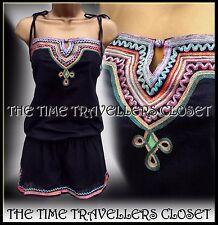 Kate Moss TopShop Rare Ethnic Black Multi Embroidered Festival Playsuit UK 12 14