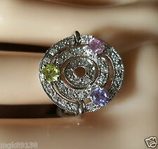 New Crystal Cubic Zirconia  Silver Multi Gemstone Ring Size 7