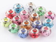 20p Mix butterfly SILVER MURANO bead LAMPWORK fit European Charm Bracelet AB908
