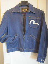 -VINTAGE- Evisu Custom Denim (75% Silk & 25% Cotton) Blue Jacket | Size: L