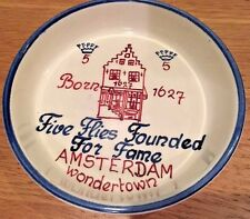 "Unique Bowl ""Five Flies Founded For Fame"", Born 1627, Amsterdam, wondertown"