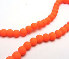 New 50PCS 6mm Deep Orange Matte Rubber Round Glass Spacer Chram Beads