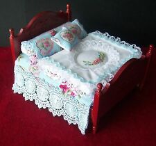 Miniature 1/12th scale dolls house DOUBLE BED SET - with handmade bedding