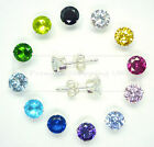SILVER CUBIC ZIRCONIA CZ STUD EARRINGS SQUARE ROUND CZ 925 SILVER all sizes