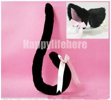 Anime Cosplay Costume Party Fox Cat Ears Hair Clips + Tail with Bell Black