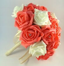 Coral and Ivory Diamante Artificial Brides Bouquet - Wedding Flowers