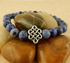 Men's Stretch Sodalite gemstone Bracelet with Silver Celtic Knot bead, Chakra