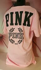 Victorias Secret PINK Campus Tee Shirt Short Sleeve Paris Pink Black Graphic M