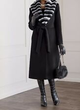 Women's Winter fall dress Black faux fur Chinchilla trim Coat jacket size XL$220