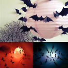 Hot 12Pcs Black 3D DIY PVC Bat Wall Sticker Decal Halloween Festival Decoration