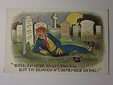 "K610 - ""I DON'T REMEMBER DYING"" - Donald McGill COMIC POSTCARD"