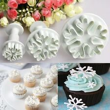 3pcs Xmas Snowflake Fondant Cookie Cutter Plunger Mould Cake Decorating Mold