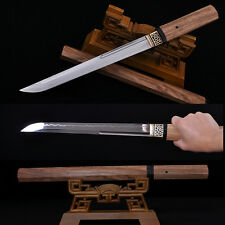 HANDMADE JAPANESE SAMURAI SWORD TANTO CLAY TEMPERED FULL TANG BLADE HUALEE WOOD