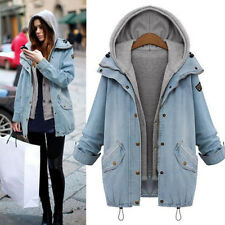 Winter Women's Coat Jacket  +Vest Denim Trench Hoodie Overcoat Hooded Jeans Blue