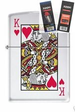 Zippo 7555 king of hearts chrome Lighter with *FLINT & WICK GIFT SET*