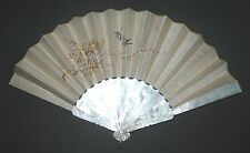 ANTIQUE CHINESE CANTON EXPORT CARVED MOTHER OF PEARL STICKS SILK EMBROIDERY FAN
