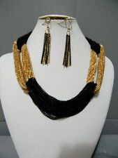Gold Black Mesh Chain Statement Layered Multi Necklace Long Earrings Set Chunky