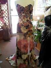 Brown /Multi color.Smooth Ballroom Dance Dress .S 10. Silk