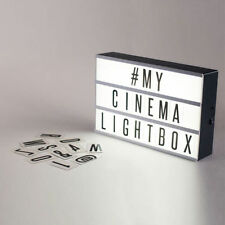 Light up letter box cinématique led signe mariage fête cinema plaque shop home A4