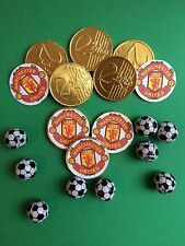 10x Man Utd Chocolate Coin +10 XChoc Footballs Themed Party Bag Filler Gift Loot