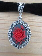 RED ON BLACK ROSE CAMEO BLACK VELVET CHOKER